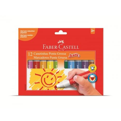 Canetas Hidrográficas 12 Cores Faber-Castell Jumbo 150212GZF