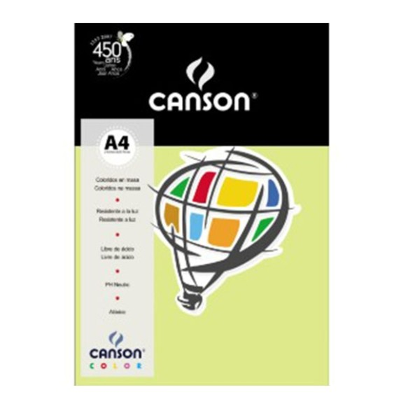 PAPEL COLOR PLUS CANSON VIVALDI A4 180G VERDE CLARO