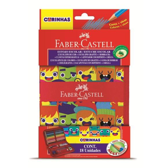 Estojo Escolar Completo Com 18 Itens Carinhas Faber Castell Ref.18.2216