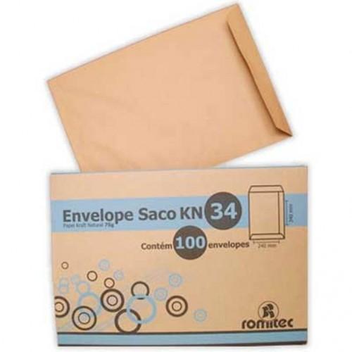 ENVELOPE SACO KRAFT 240X340 CX C/100 ROMITEC