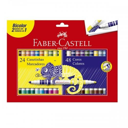 Canetinha Hidrográfica Bicolor 24 Canetas 48 Cores Faber Castell - 15.0624p