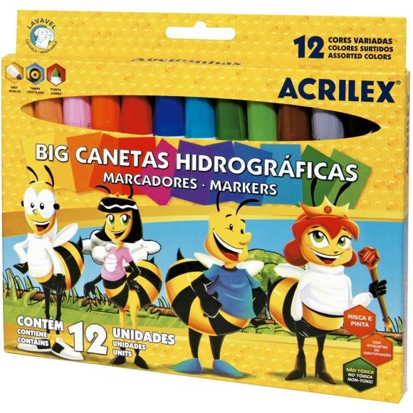 CANETA HIDROGRAFICA BIG 12 CORES ACRILEX