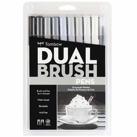 MARCADOR PINCEL DUAL BRUSH 10 CORES TOMBOW MOD.56171