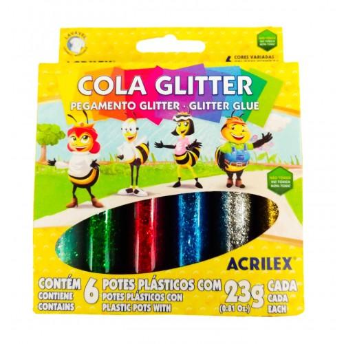 COLA GLITER C/6 ACRILEX REF.02923