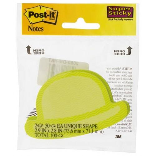 Blocos Adesivos Post-It Formato Chapéu Verde 7,36 x 7,1cm