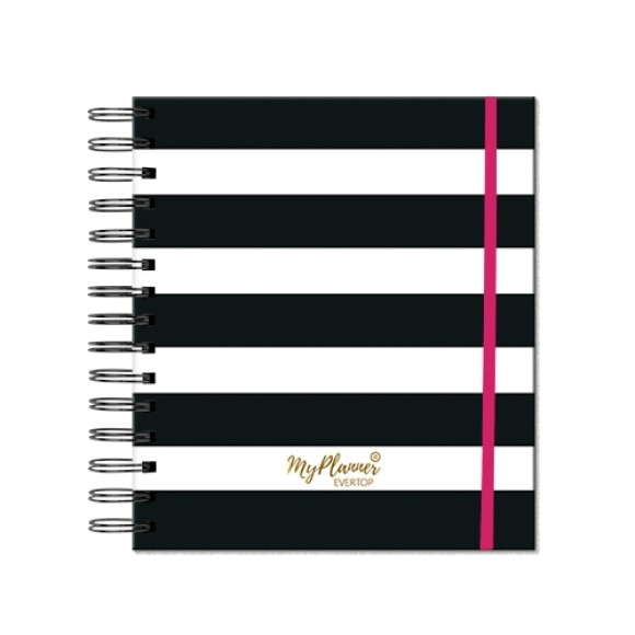 PLANNER PERMANENTE STRIPES SQUARE BLACK REF-1078