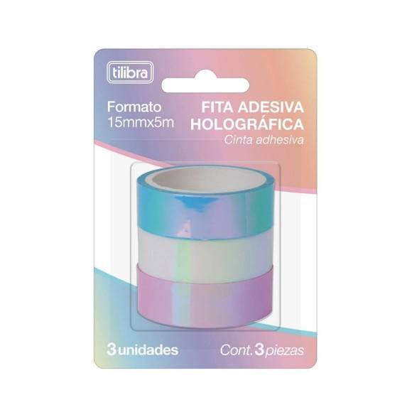 FITA DECORATIVA TILIBRA HOLOGRAFICA C/3