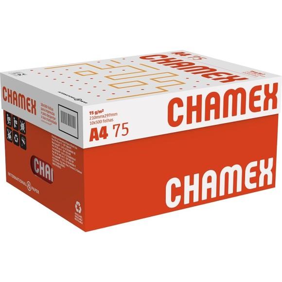 PAPEL SULFITE 75G ALCALINO 210X297 A4 CHAMEX BRANCO - CAIXA COM 10 RESMAS