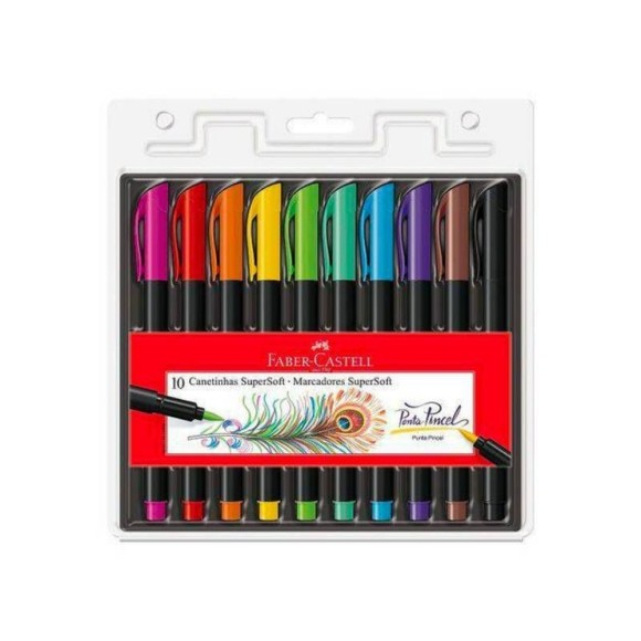 CANETA FABER-CASTELL SUPERSOFT BRUSH C/10 CORES