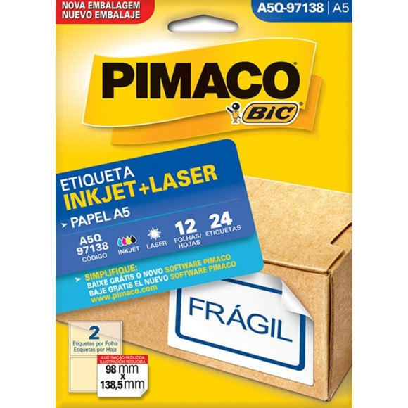 ETIQUETA INKJET + LASER A5Q-97138 PIMACO