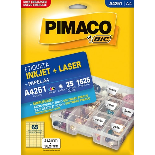 ETIQUETA INKJET + LASER A4251 PIMACO