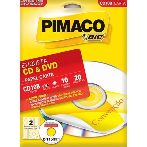 ETIQUETA INKJET + LASER  CD10B - CD 10 folhas CARTA