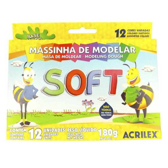MASSINHA DE MODELAR 12 CORES SOFT ACRILEX